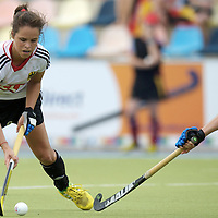 MONCHENGLADBACH - Junior World Cup<br /> Pool D: Germany - Spain<br /> photo: Pia-Sophie Oldhafer (white), Cristina Guinea (red).<br /> COPYRIGHT  FFU PRESS AGENCY/ FRANK UIJLENBROEK