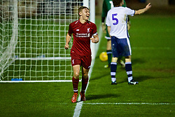 BURY, ENGLAND - Wednesday, March 6, 2019: Liverpool's captain Paul Glatzel celebrates scoring the third goal, his second of the game, during the FA Youth Cup Quarter-Final match between Bury FC and Liverpool FC at Gigg Lane. (Pic by David Rawcliffe/Propaganda)