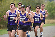 Julius Diehr (1281) and Mick Stanovsek (1289) lead the pack in the men's 4 mile run at the UW/Seattle University Open race at Warren G. Magnuson Park., Friday, Aug. 30, 2019, in Seattle. (Paul Merca/Image of Sport)