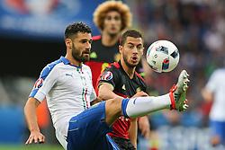 13-06-2016 FRA: UEFA EURO Belgie - Italie, Lyon<br /> België verliest met 2-0 van Italie / Antonio Candreva (ITA), Eden Hazard (BEL)<br /> <br /> ***NETHERLANDS ONLY***
