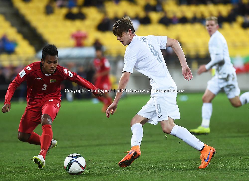 Alex Rufer passes during the FIFA U20 World Cup football match, New Zealand Junior All Whites v Myanmar. Wellington, New Zealand on Friday 5 June 2015. Copyright Photo: Andrew Cornaga / www.photosport.co.nz