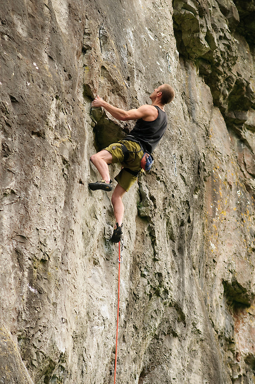 Sam Whittaker on Minos, 7c+, Two Tier Butress, Chee Dale