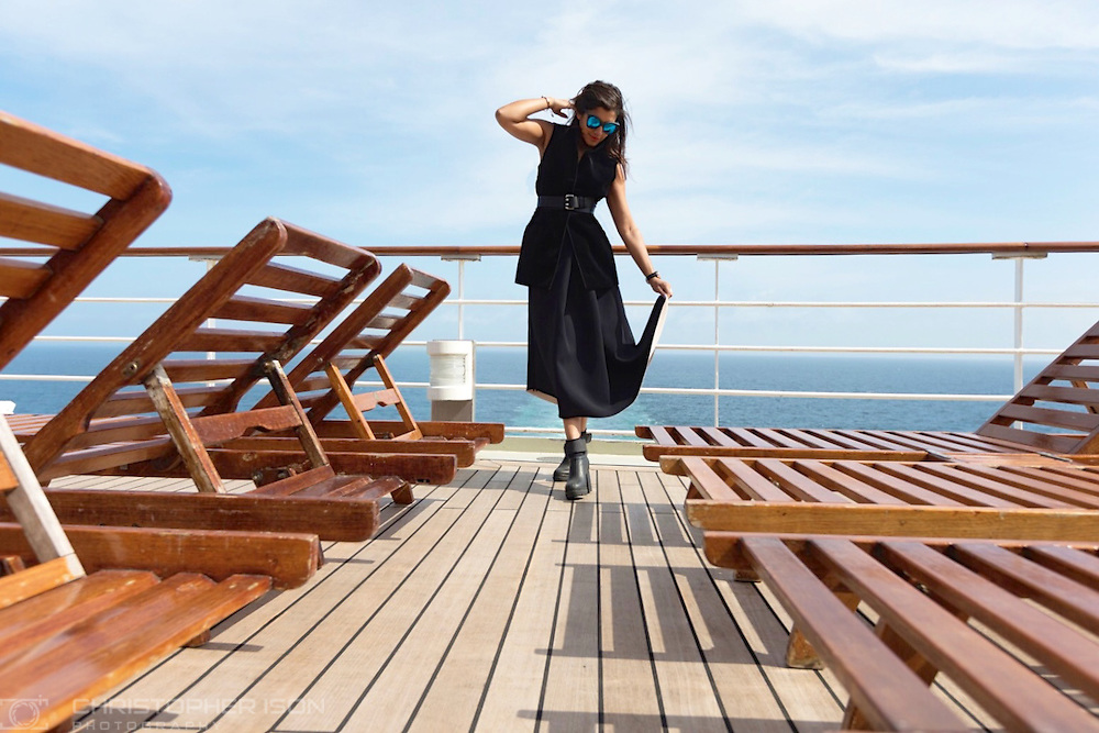 Bonnie Rakhit, aka The Style Traveller wears Amanda Wakeley on board Queen Mary 2 during the first ever Transatlantic Fashion Week voyage to New York.<br /> Picture date: Friday September 2, 2016.<br /> Photograph by Christopher Ison &copy;<br /> 07544044177<br /> chris@christopherison.com<br /> www.christopherison.com