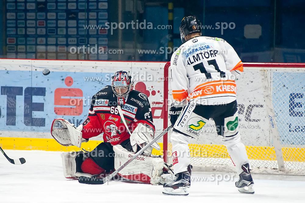 18.12.2015, Ice Rink, Znojmo, CZE, EBEL, HC Orli Znojmo vs Moser Medical Graz 99ers, 32. Runde, im Bild v.l. Tomas Fucik ( HC Orli Znojmo) Jonas Almtorp (Graz 99ers) // during the Erste Bank Icehockey League 32nd round match between HC Orli Znojmo and Moser Medical Graz 99ers at the Ice Rink in Znojmo, Czech Republic on 2015/12/18. EXPA Pictures © 2015, PhotoCredit: EXPA/ Rostislav Pfeffer