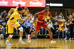 Feb 24, 2018; Morgantown, WV, USA; Iowa State Cyclones guard Terrence Lewis (24) dribbles up the floor during the first half against the West Virginia Mountaineers at WVU Coliseum. Mandatory Credit: Ben Queen-USA TODAY Sports