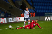 Thibaud Verlinden of Bolton Wanderers challenge during the EFL Sky Bet League 1 match between Bolton Wanderers and Milton Keynes Dons at the University of  Bolton Stadium, Bolton, England on 16 November 2019.