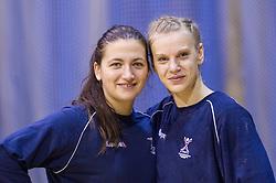 Branka Zec and Barbara Varlec Lazovic during practice session of Slovenian Women handball National Team three days before match against Serbia, on October 24, 2013 in Arena Tivoli, Ljubljana, Slovenia. (Photo by Vid Ponikvar / Sportida)