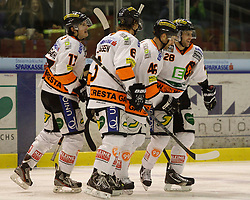 13.12.2013, Eisstadion Liebenau, Graz, AUT, EBEL, Moser Medical Graz 99ers vs HC TWK Innsbruck Die Haie, 51. Runde, im Bild Jubel bei Manuel Ganahl (Moser Medical Graz 99ers), Stefan Lassen (Moser Medical Graz 99ers), Greg Day (Moser Medical Graz 99ers) und Patrick Coulombe (Moser Medical Graz 99ers) // during the Erste Bank Icehockey League 51st Round match between Moser Medical Graz 99ers and HC TWK Innsbruck Die Haie at the Ice Stadium Liebenau, Graz, Austria on 2013/12/13, EXPA Pictures © 2013, PhotoCredit: EXPA/ Erwin Scheriau