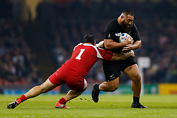 New Zealand Prop Charlie Faumuina is tackled by Georgia Prop Karlen Asieshvili - Mandatory byline: Rogan Thomson/JMP - 07966 386802 - 02/10/2015 - RUGBY UNION - Millennium Stadium - Cardiff, Wales - New Zealand v Georgia - Rugby World Cup 2015 Pool C.