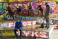 "Left to right, Tevon 'TJ Jules, 13, Pharell ""PJ"" Samuel, 16, Trizzy, 16, Liam Ross, 17, Mac Ferrari, and front, Daniel 16,. Bikestormz is the brainchild of leader Mac Ferrari, a group of young trick cyclists who are encouraged to put knives down and enjoy the healthy, positive side of urban youth culture by joining together  and developing their cycling skills. London, September 27 2019."
