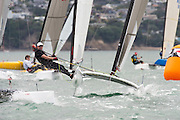 Bryan Roberts (NZL224), race eight of the A Class World championships regatta being sailed at Takapuna in Auckland. 15/2/2014