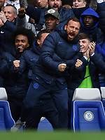 Football - 2019 / 2020 Premier League - Chelsea vs. Tottenham Hotspur<br /> <br /> Chelsea assistant manager Jody Morris celebrates his side's second goal scored by Marcos Alonso, at Stamford Bridge.<br /> <br /> COLORSPORT/ASHLEY WESTERN
