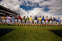 © Licensed to London News Pictures. 02/11/10. Jockeys contesting the 150th running of the Melbourne cup being introduced to the crowd at Flemington Race Course in Melbourne Australia
