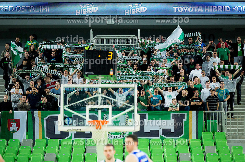 Green Dragons, fans of Olimpija during basketball match between KK Union Olimpija (SLO) and Zenit St. Petersburg (RUS) in 4th Round of EuroCup 2014/15, on November 4, 2014 in Arena Stozice, Ljubljana, Slovenia. Photo by Vid Ponikvar / Sportida