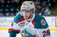 KELOWNA, CANADA - MAY 13: Leon Draisaitl #29 of Kelowna Rockets warms up against the Portland Winterhawks on May 13, 2015 during game 4 of the WHL final series at Prospera Place in Kelowna, British Columbia, Canada.  (Photo by Marissa Baecker/Shoot the Breeze)  *** Local Caption *** Leon Draisaitl;