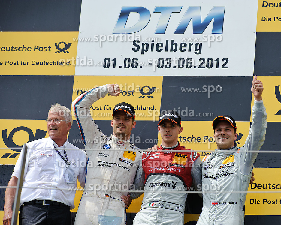 03.06.2012, Red Bull Ring, Spielberg, AUT, DTM Red Bull Ring, Renntag, im Bild v.l. Martin Tomczyk, (GER, BMW Team RMG, 2. Platz), Edoardo Mortara, (ITA, Team Rosberg, 1. Platz), Gary Paffett, (GBR, HWA, 3. Platz) // during the DTM training day on the Red Bull Circuit in Spielberg, 2012/06/03, EXPA Pictures © 2012, PhotoCredit: EXPA/ S. Zangrando