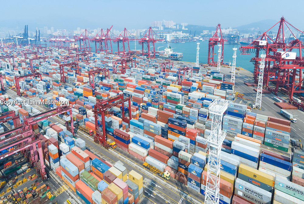 Large container terminal in Port of Hong Kong China