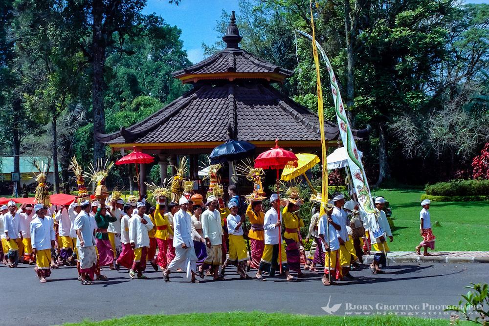 Bali, Tabanan, Bedugul. The Bedugul Botanical Garden (Eka Karya Botanical Garden) was established in 1959. A hindu celebration.