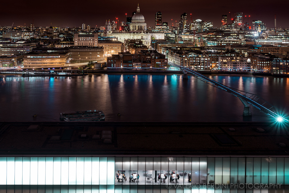 A night view of London and the Tate modern restaurant from the recent extension of gallery