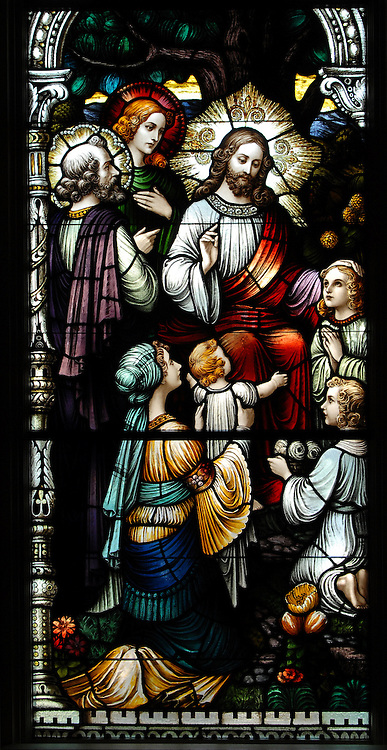 Stained glass image of Jesus visiting with children, from inside the chapel of School Sisters of St. Francis convent on Layton Ave. in Milwaukee. (Photo by Sam Lucero)