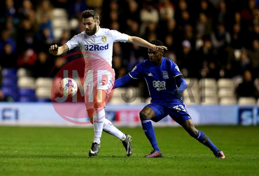 Stuart Dallas of Leeds United is put under pressure by Cheick Keita of Birmingham City - Mandatory by-line: Robbie Stephenson/JMP - 03/03/2017 - FOOTBALL - St Andrew's Stadium - Birmingham, England - Birmingham City v Leeds United - Sky Bet Championship