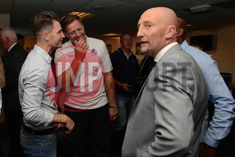 Phill Kite speaks with Jamie Cureton - Mandatory byline: Dougie Allward/JMP - 07966386802 - 31/07/2015 - FOOTBALL - Memorial Stadium -Bristol,England - Bristol Rovers v West Brom - Phil Kite Testimonial Match