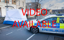 VIDEO AVAILABLE £100 per use per page https://we.tl/t-Vb2IW4uaAC  © Licensed to London News Pictures. 07/03/2019. London, UK. Police evidence tents cover the crime scene in North Birkbeck Road in Leyton in east London where a murder investigation has been launched after a man in his twenties was stabbed on Wednesday. Photo credit: Peter Macdiarmid/LNP