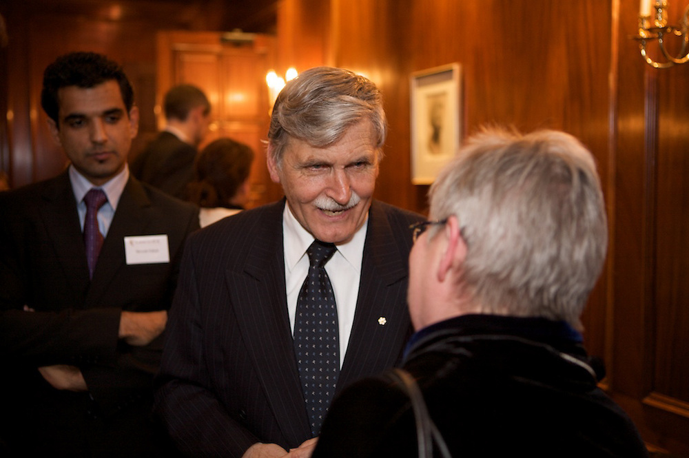Senator and Lieutenant-General Rome?o Antonius Dallaire speaks as part of an event hosted by Concordia University's Montreal Institute For Genocide And Human Rights Studies at the Sauve? Foundation on October 28th, 2009