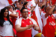 Arsenal fans celebrate taking the lead during the FA Community Shield match between Chelsea and Arsenal at Wembley Stadium, London, England on 2 August 2015. Photo by Michael Hulf.