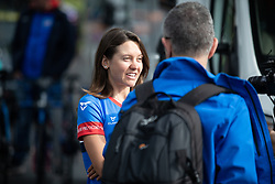 Erica Magnaldi (ITA) of WNT Rotor Pro Cycling is bein interviewed before Stage 6 of 2019 OVO Women's Tour, a 125.9 km road race from Carmarthen to Pembrey, United Kingdom on June 15, 2019. Photo by Balint Hamvas/velofocus.com