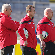 The Welsh coaching staff of Warren Gatland, (left) Robert Howley, (centre) and Shaun Edwards during the Wales teams Captain's run at Eden Park in preparation for the third against fourth play off match with Australia at the IRB Rugby World Cup tournament, Auckland, New Zealand. 20th October 2011. Photo Tim Clayton...