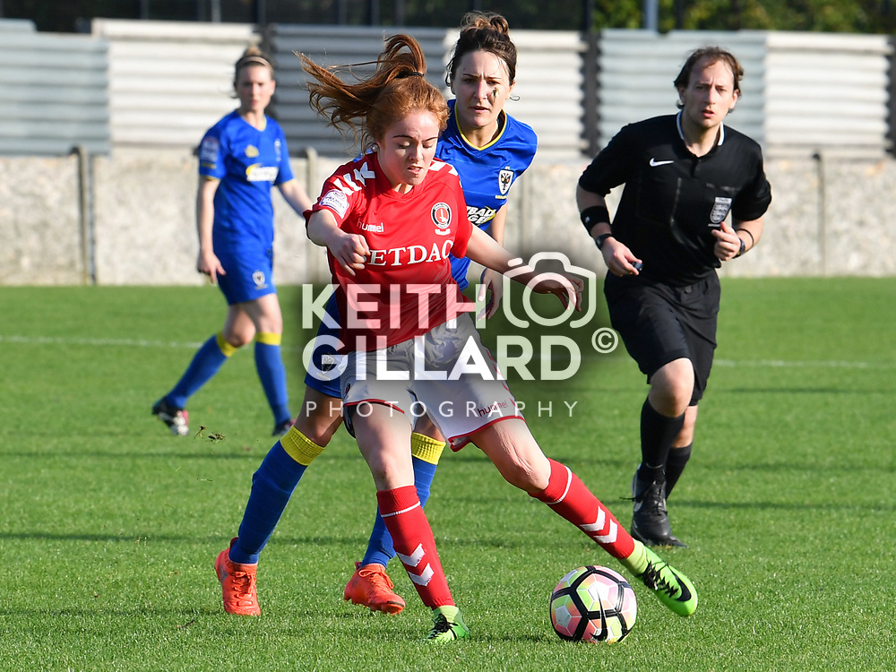 Charlton Athletic v AFC Wimbledon Ladies, FA Women's Premier League Cup, Sporting Club Thamesmead, 15 October  2017. <br /> <br /> <br /> Image by Keith Gillard