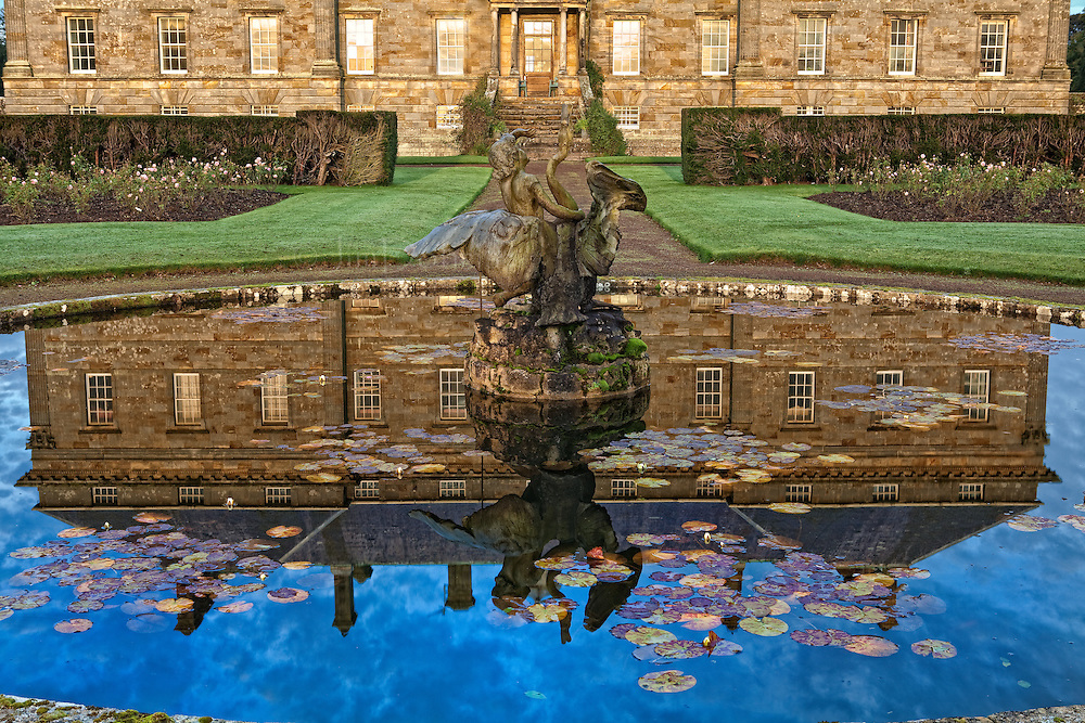 The fountain in the gardens at Kinross House is unique. Water lilies accent the reflecting pool.