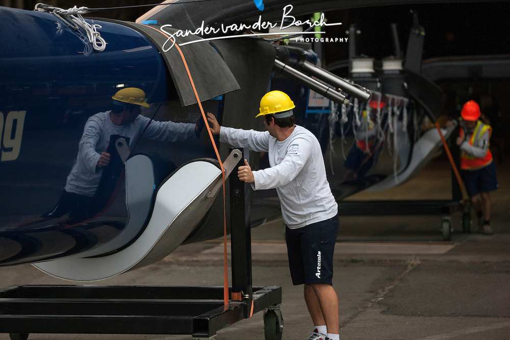 9th of July, 2013, Artemis Racing's blue boat is turned around for load during this week.
