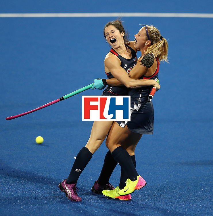 RIO DE JANEIRO, BRAZIL - AUGUST 13:  Michelle Vittese (L) of the USA celebrates with team mate Katie Bam after scoring a goal during the Women's group B hockey match between Great Britain and the USA on Day 8 of the Rio 2016 Olympic Games at the Olympic Hockey Centre on August 13, 2016 in Rio de Janeiro, Brazil.  (Photo by David Rogers/Getty Images)