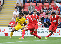 Ellis Harrison of Bristol Rovers tries to force his way through the O's defence - Mandatory byline: Neil Brookman/JMP - 07966386802 - 29/08/2015 - FOOTBALL - Matchroom Stadium -Leyton,England - Leyton Orient v Bristol Rovers - Sky Bet League Two