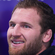 Kieran Read, New Zealand, during the All Black's Press Conference at Smart Stadium, Auckland, in preparation for the Rugby World Cup Final against France at the IRB Rugby World Cup tournament, Auckland, New Zealand. 18th October 2011. Photo Tim Clayton...