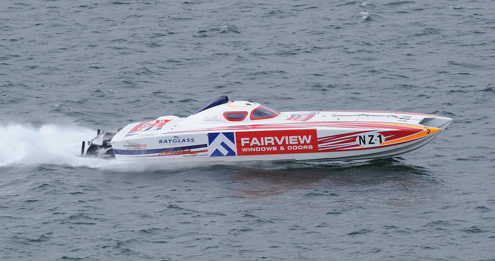 Fairview Windows and Doors crewed by Andrew Koolen and Warren Lewis in the Super Boat class in race six of the New Zealand Offshore Powerboat Championships, Wellington Harbour, Wellington, New Zealand, Saturday, April 14, 2012. Credit:SNPA / Ross Setford