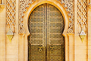 RABAT, MOROCCO - 27th May 2014 - Arched doorway architecture at the Mausoleum of Mohammed V in the Yacoub al-Mansour Esplanade in Rabat, Morocco.