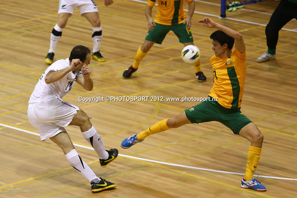 Micky Malivuk of New Zealand shoots at goal. ASB Trans Tasman Cup, Futsal Whites v Futsal Roos, ASB Stadium, Kohimarama, FSaturday 22 September 2012. Photo: Simon Watts/photosport.co.nz