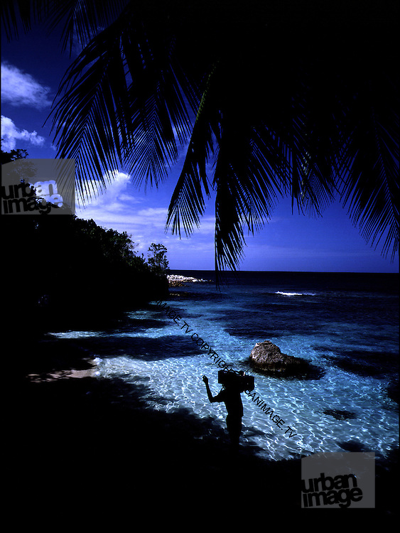 Music on the Beach - Neville Garrick with Ghetto Blaster - Goldeneye Jamaica 1979