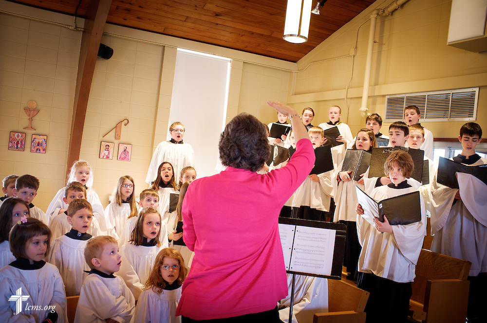 Katherine May, organist and choirs director, leads her choir during worship on Transfiguration Sunday, Feb. 7, 2016, at Peace Lutheran Church in Sussex, Wis., LCMS Communications/Erik M. Lunsford