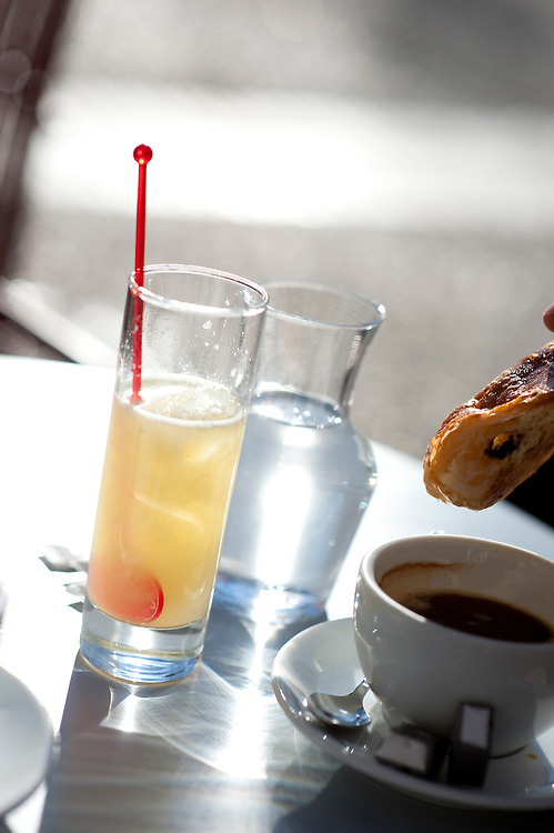 French breakfast of Citron presse and coffee and croisssant, Nimes, South of France