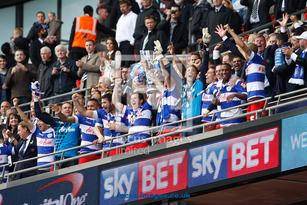 QPR fans celebrate winning 1-0 during the Sky Bet Championship Play Off final at Wembley Stadium, London<br /> Picture by Andrew Tobin/Focus Images Ltd +44 7710 761829<br /> 24/05/2014