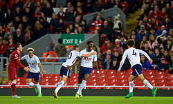 LIVERPOOL, ENGLAND - Friday, September 22, 2017: Tottenham Hotspur's Christian Moghoma celebrates scoring the second goal to equalise at 2-2 during the Under-23 FA Premier League 2 Division 1 match between Liverpool and Tottenham Hotspur at Anfield. (Pic by David Rawcliffe/Propaganda)