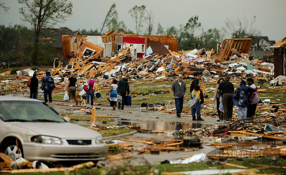 Photo by Gary Cosby Jr.  Homes in the McCulley Mill Rd. area are completely destroyed following a large tornado that cut a path through Lawrence, Morgan and Limestone Counties.