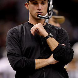September 9, 2010; New Orleans, LA, USA; New Orleans Saints defensive backs coach Dennis Allen on the sideline during the NFL Kickoff season opener at the Louisiana Superdome. The New Orleans Saints defeated the Minnesota Vikings 14-9.  Mandatory Credit: Derick E. Hingle