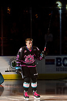 KELOWNA, BC - SEPTEMBER 21:  Ethan Ernst #19 of the Kelowna Rockets enters the ice for home opener against the Spokane Chiefs at Prospera Place on September 21, 2019 in Kelowna, Canada. (Photo by Marissa Baecker/Shoot the Breeze)