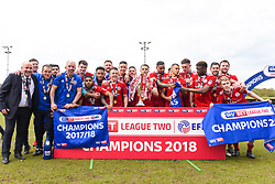 Free to use courtesy of Sky Bet - Accrington Stanley celebrate winning promotion to the Sky Bet League One - Mandatory by-line: JMP - 28/04/2018 - FOOTBALL - Wham Stadium - Accrington, England - Accrington Stanley v Lincoln City - Sky Bet League Two