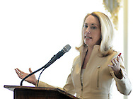 Former CIA operative Valerie Plame speaks at the Huntingdon Valley Library's spring author brunch and luncheon Sunday, April 10, 2016 at Philmont Country Club in Huntingdon Valley, Pennsylvania.  (Photo by William Thomas Cain)